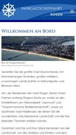 Vorschau der mobilen Webseite www.ruegen-schifffahrt.de, Fahrgastschifffahrt Rügen