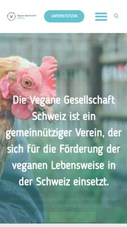 Vorschau der mobilen Webseite vegan.ch, Vegane Gesellschaft Schweiz