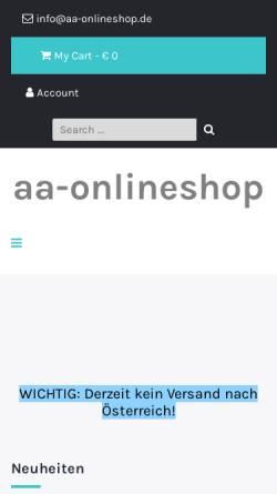 Vorschau der mobilen Webseite aa-onlineshop.de, AA-Onlineshop, Cäcilia Dietz
