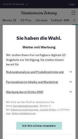 Vorschau der mobilen Webseite www.sueddeutsche.de, Vom Dissidenten zum Dichterpräsidenten