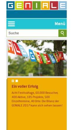 Vorschau der mobilen Webseite www.geniale-bielefeld.de, Geniale Bielefeld 2011