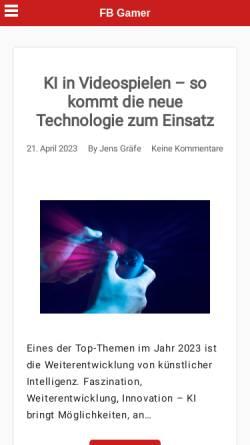 Vorschau der mobilen Webseite www.fbgamer.de, FBGamer.de