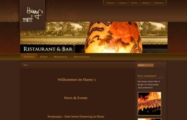 Vorschau von www.hannys.de, Hannys - Restaurant & Bar