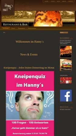 Vorschau der mobilen Webseite www.hannys.de, Hannys - Restaurant & Bar