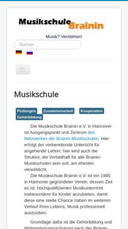 Vorschau der mobilen Webseite musikschule-1.de, Musikschule Brainin