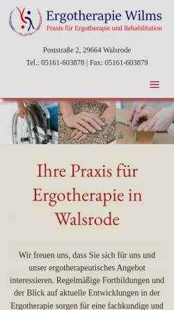 Vorschau der mobilen Webseite ergotherapie-wilms.de, Praxis für Ergotherapie Vigo Wilms