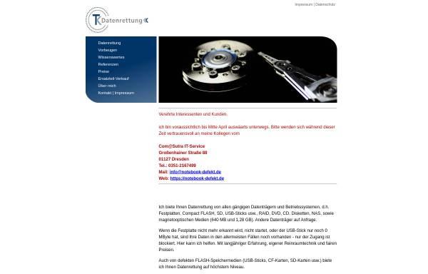 Vorschau von www.tk-datenrettung.de, TK Datenrettung Inh. Dipl.-Ing. (FH) Thomas Kippenberg