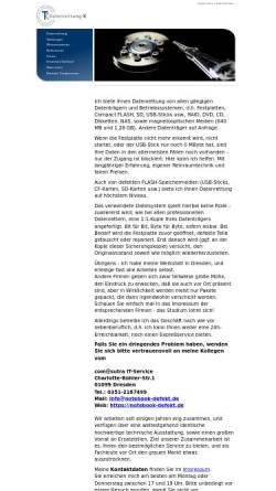 Vorschau der mobilen Webseite www.tk-datenrettung.de, TK Datenrettung Inh. Dipl.-Ing. (FH) Thomas Kippenberg