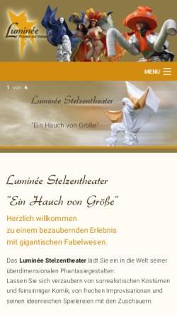 Vorschau der mobilen Webseite www.theater-luminee.de, Luminée - Theater auf Stelzen