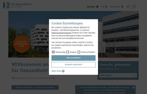 Vorschau von www.hs-gesundheit.de, Hochschule für Gesundheit