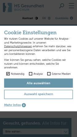 Vorschau der mobilen Webseite www.hs-gesundheit.de, Hochschule für Gesundheit