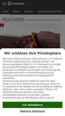 Vorschau der mobilen Webseite www.kapstadtmagazin.de, Kapstadt Magazin