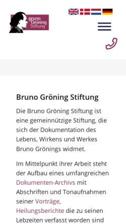 Vorschau der mobilen Webseite www.bruno-groening-stiftung.org, Bruno Gröning Stiftung