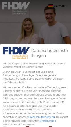 Vorschau der mobilen Webseite www.fhdw.de, Fachhochschule der Wirtschaft [FHDW]
