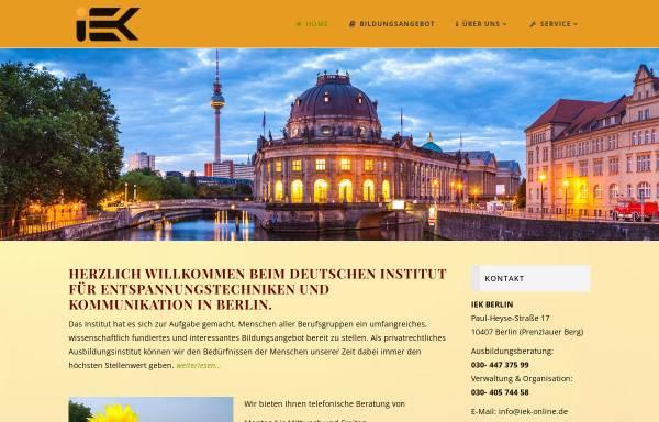 Vorschau von iek-berlin.de, I-E-K Institut Berlin - Institut für Entspannungstechniken und Kommunikation