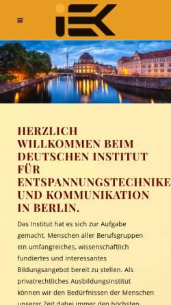 Vorschau der mobilen Webseite iek-berlin.de, I-E-K Institut Berlin - Institut für Entspannungstechniken und Kommunikation
