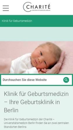 Vorschau der mobilen Webseite geburtsmedizin.charite.de, Klinik für Geburtsmedizin der Charité- Universitätsmedizin Berlin
