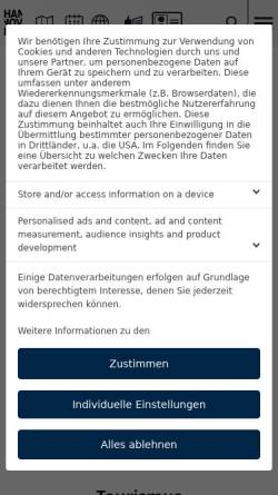 Vorschau der mobilen Webseite www.hannover.de, Hannover Tourismus - Hannover.de Internet GmbH