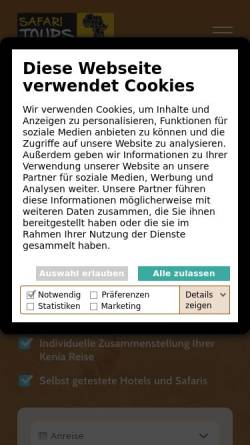 Vorschau der mobilen Webseite www.keniareisen.de, Keniareisen.de