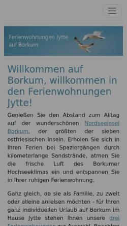 Vorschau der mobilen Webseite www.ferienwohnungen-jytte.de, Ferienwohnungen Jytte Borkum