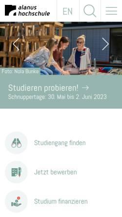 Vorschau der mobilen Webseite www.alanus.edu, Alanus Hochschule für Kunst und Gesellschaft Alfter