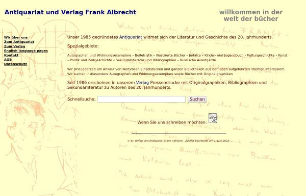 Vorschau von www.antiquariat.com, Antiquariat Frank Albrecht