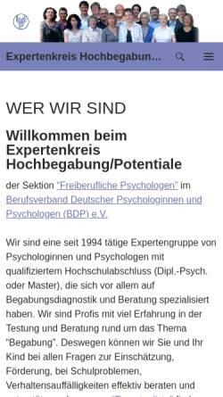 Vorschau der mobilen Webseite www.die-hochbegabung.de, Berufsverband deutscher Psychologen (BDP)