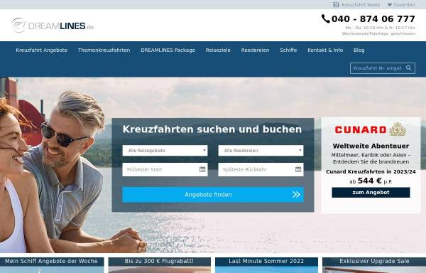 Vorschau von www.dreamlines.de, NETVACATION GmbH [20354 Hamburg]