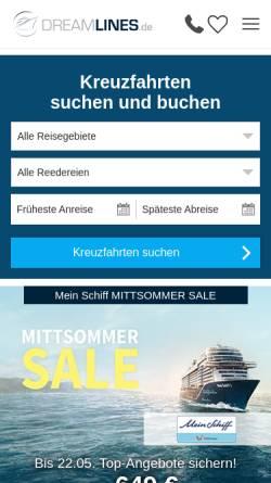 Vorschau der mobilen Webseite www.dreamlines.de, NETVACATION GmbH [20354 Hamburg]