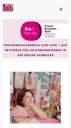 Vorschau der mobilen Webseite www.sieh-hier.de, FrauenBranchenBuch Hannover & Umgebung - Inh. Dipl.-Ing. Barbara Felten