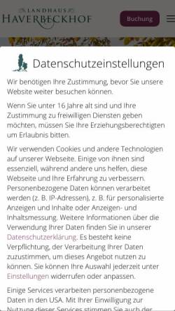Vorschau der mobilen Webseite www.haverbeckhof.de, Landhaus Haverbeckhof