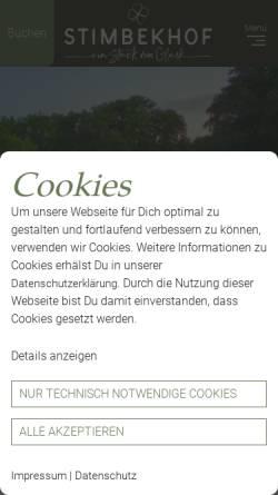 Vorschau der mobilen Webseite www.stimbekhof.de, Stimbekhof