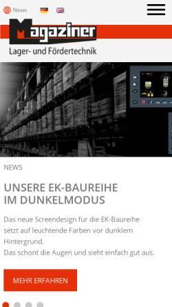 Vorschau der mobilen Webseite www.magaziner.de, Magaziner Lager - und Fördertechnik GmbH