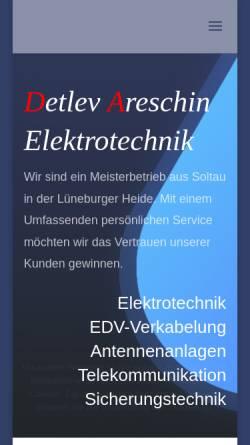 Vorschau der mobilen Webseite www.areschin.de, Areschin Elektrotechnik