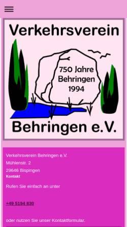 Vorschau der mobilen Webseite www.behringen-online.de, Behringen