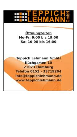 Vorschau der mobilen Webseite www.teppichlehmann.de, Teppich Lehmann GmbH