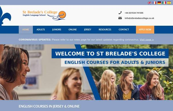 Vorschau von stbreladescollege.co.uk, St Brelades English language school, Jersey