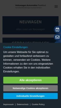 Vorschau der mobilen Webseite www.volkswagen-frankfurt.de, Volkswagen Automobile Frankfurt GmbH