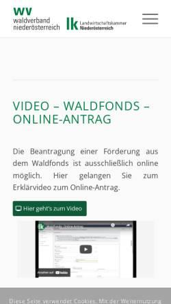 Vorschau der mobilen Webseite www.waldverband-noe.at, Niederösterreichischer Waldverband. A-3100 St. Pölten