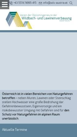 Vorschau der mobilen Webseite www.wlv-austria.at, Verein der Diplomingenieure der Wildbach- und Lawinenverbauung