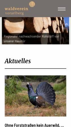 Vorschau der mobilen Webseite www.waldverein.at, Vorarlberger Waldverein