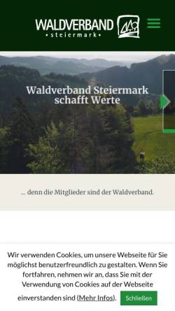 Vorschau der mobilen Webseite www.waldverband-stmk.at, Waldverband Steiermark