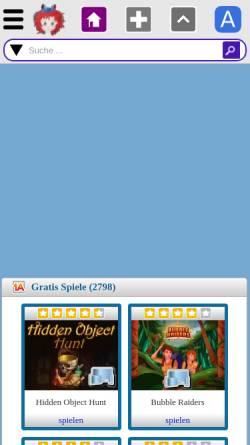 Vorschau der mobilen Webseite in2games.net, In2games- gratis Online-Flashgames und kostenlose Downloadspiele