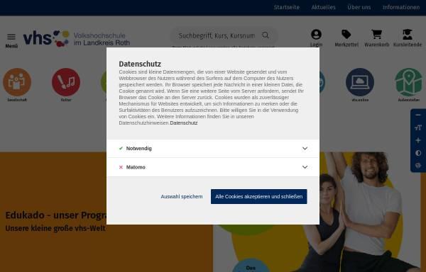 Vorschau von www.vhs-roth.de, Volkshochschulen Roth