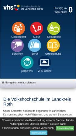 Vorschau der mobilen Webseite www.vhs-roth.de, Volkshochschulen Roth