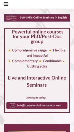 Vorschau der mobilen Webseite kompetenzia-international.com, Kompetenzia - Svenja Neupert