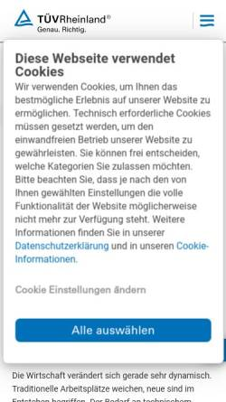 Vorschau der mobilen Webseite www.tuv.com, TÜV-Akademie Rheinland/Berlin-Brandenburg
