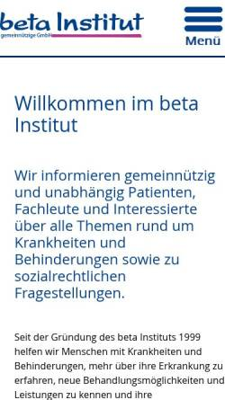Vorschau der mobilen Webseite www.betainstitut.de, Beta Institut