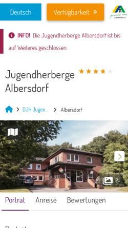 Vorschau der mobilen Webseite albersdorf.jugendherberge.de, Jugendherberge Albersdorf