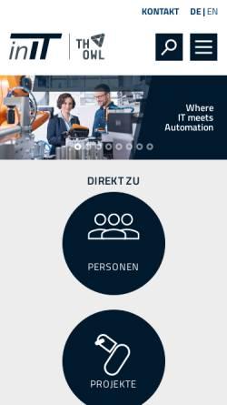 Vorschau der mobilen Webseite www.hs-owl.de, Institut für Industrielle Informationstechnik (kurz: inIT - Institut Industrial IT)